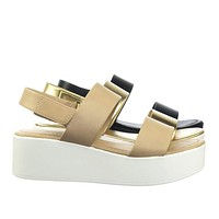 Promote by Classified Flatform Hook & Loop Sandal w Thick Platform & Sling Back
