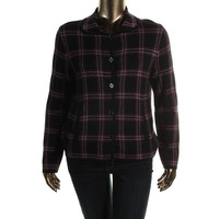 Jones New York Womens Knit Plaid Blazer