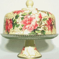 Pink Rose Glass Cake Stand