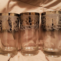 Vintage Silver Mercury Glass Ombre Fade Highball Glasses -Hollywood Glam Frosted Embossed Silver Dorothy Thorpe Glasses