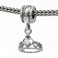 .925 Sterling Silver My Princess Crown Screw-on Dangle CZ Bead Charm For European Charm Bracelets