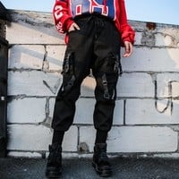 Black High Waist Cargo Pants Women Pockets Patchwork Casual Funny Loose Streetwear Pencil Pants Fashion Hip Hop Women Trousers