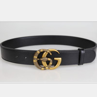 GUCCI  snake pattern Fashion Smooth Buckle Belt Leather Belt black