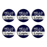 Logan Hello My Name Is Plastic Resin Button Set of 6