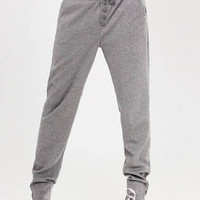 Grey Drawstring Button Detail Jogger Pants