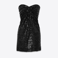 SAINT LAURENT ‎BUSTIER DRESS WITH ALLOVER STAR EMBROIDERY ‎ | YSL.COM