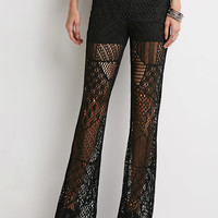 Pointelle Knit Flared Pants