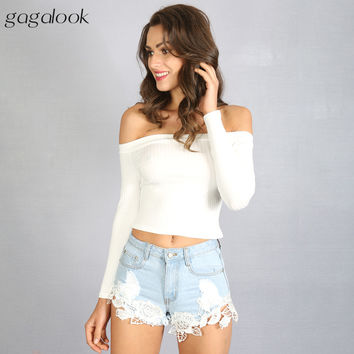 Gagalook 2016 Brand New Blusas Blouse Women Female Femme White Long Sleeve Off Shoulder Top Cotton Sexy Fashion Short 90'S T0895