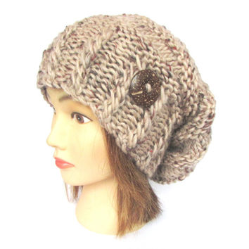 Slouchy beanie hat beige fleck slouch hats irish handknit beanies knitted chunky hat women gift for her with button camel speckled warm soft