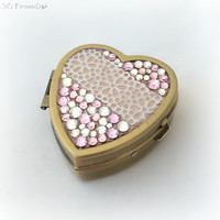 Gold lace heart pill box, kawaii pink rhinestone trinket box, deco pill case, decoden case, romantic gift for her
