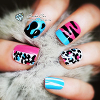 Colorful false nail set with leopard printed pattern french false nails Unique Style  fake nails acrylic Bride Full design nail tips Fashion Nail art tool hand makeup  262 (Color: Multicolor) = 1930017028