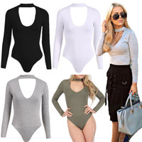 Solid Color Long Sleeve Bodysuit Jumpsuits