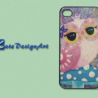 iphone 4 case, iphone 4s case, iphone 4 skins, iphone 4s cover - colorful owl iphone 4 case