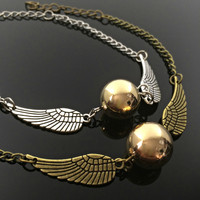 Golden Snitch Charm Bracelet Best friend gift Harry Potter Gift Golden Snitch Necklace Fandom Jewelry Always