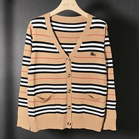 Burberry New fashion stripe long sleeve top coat cardigan