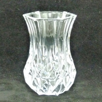 Small Crystal Glass Vase or Tooth Pick Holder by Cristal d'Arques, Made in France, Handmade, 24% Lead Crystal