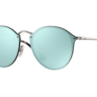 Ray-Ban 3574N 003/30, 59mm,Silver/Dark Green Mirror, 100%UV, Blaze, Round,Unisex