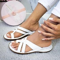 Summer new style women's sandals casual slope heel all over toe sandals solid color women's shoes