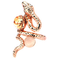 Size 6 Inox 316L Steel Rose Gold IP Snake with Gems Fashion Ring | Body Candy Body Jewelry