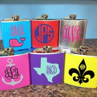 Custom Monogram Women's Flask- Great for Brides, Bridesmaids, 21 year olds, Birthdays, College Students, and Gifts