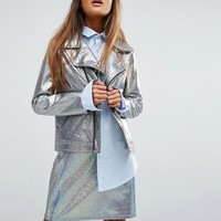 Mad But Magic Biker Jacket In Holographic Co-Ord at asos.com