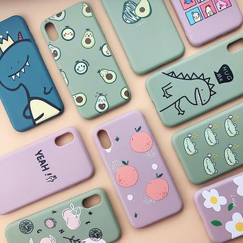 Funky Peach /Avocado / Dinosaur Silicone Phone Case For iPhone X XS Max XR 7 8 6 6S Plus 11 Pro Max