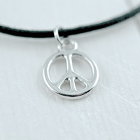 silver peace sign charm choker necklace {peace & love}