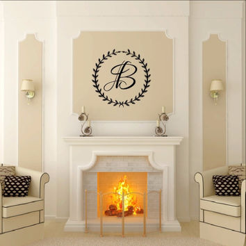 Laurel Wreath With Monogram Vinyl Wall Decal 22530