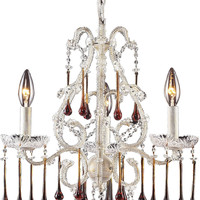 """0-027468>17""""w Opulence 3-Light Chandelier Antique White with Amber Crystal Shade"""
