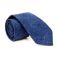 Solid Textured Deep Indigo Blue Cotton Tie