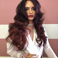 """Red Ombre Balayage Lace Front Wig 18"""" 219 Selina"""