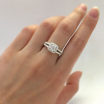 1.10 Carat Center Halo Engagement Ring-Cushion Cut Diamond Simulants-Pave Set Shank-Wedding Ring-Bridal Ring-925 Sterling Silver-R34751
