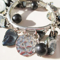 Mother Of Pearl and Silver Charm Bracelet Vintage