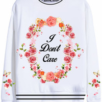 I Don't Care Floral Cameo Oversized Sweatshirt