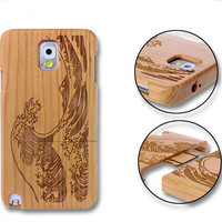 handmade bamboo wool carving waves iPhone 5s 6 6s plus case