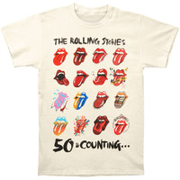 Rolling Stones Men's  Tongue Evolution 2013 Tour Slim Fit T-shirt Ivory