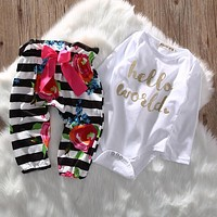 2pcs Set Newborn Baby Girl Clothing Set Tops Romper Long Pants Flower Bow Cute Outfits Girls Clothes 0-18M CA