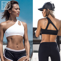 2017 Sexy One Shoulder Solid Sports Bra Women Fitness Yoga Bras Gym Padded Sport Top Athletic Underwear Workout Running Clothing