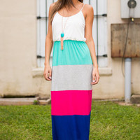 Color Block You Out Maxi Dress, Fuchsia-Blue