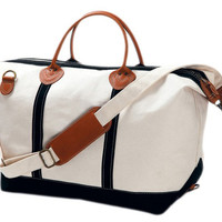 Canvas Weekender Satchel, Natural/Black, Duffels