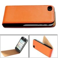 BONAMART ® High Quality Flip Leather Case Cover for Apple iPhone 4 4G 4S AT&T and Verizon Orange