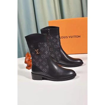 lv louis vuitton trending womens black leather side zip lace up ankle boots shoes high boots 219