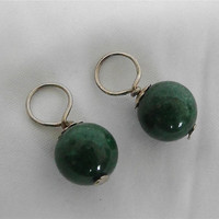 Vintage Green Stone Earring Charms