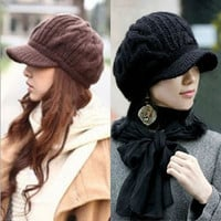 Peaked Cap Women Hat Winter Caps Knitted Hats For Woman Twist Lady's Headwear = 1946265732