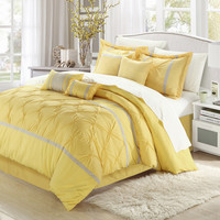 Chic Home Valde Yellow/Grey Queen 8 Pc Comforter Set