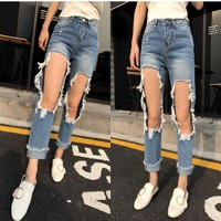 Ripped Holes Jeans Cropped Pants [45274431513]