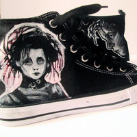 Personalized handpainted shoes Edward Scissorhands shoes, Tim Burton fanart, custom sneakers