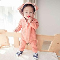 Baby Boy Winter Clothes Thickening Baby Rompers Cartoon Baby Girl Winter Coverall Hooded Baby Clothing