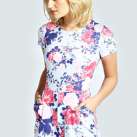 Alexie Rose Print Capped Sleeve Playsuit