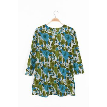 Cotton Tunic Top Turquoise and Green Floral